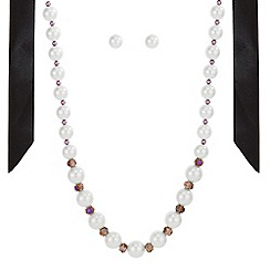 Mood - Pearl and bead ribbon jewellery set