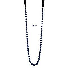 Mood - Blue pearl ribbon jewellery set