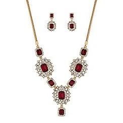 Mood - Red ornate crystal jewellery set