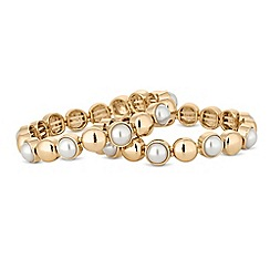 Mood - Gold pearl disc stretch bracelet set