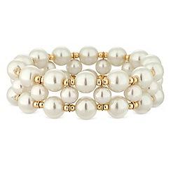 Mood - Gold beaded pearl stretch bracelet
