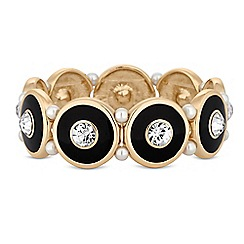 Mood - Black disc and pearl gold stretch bracelet