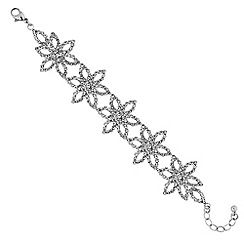 Mood - Silver diamante flower statement bracelet