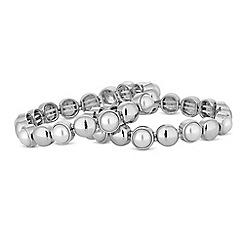 Mood - Silver pearl disc stretch bracelet set