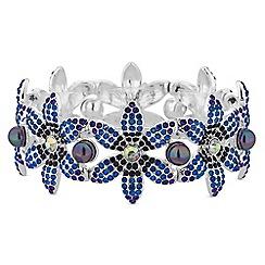 Mood - Silver blue crystal flower stretch bracelet