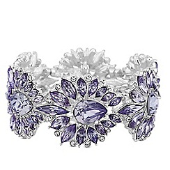 Mood - Silver purple crystal ornate stretch bracelet