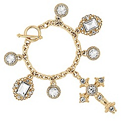 Mood - Gold crystal oversized cross statement bracelet