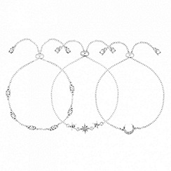 Mood - Silver crystal pave celestial bracelet set