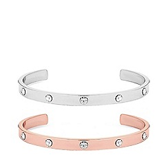 Mood - 2 pack diamante spot cuff bracelets