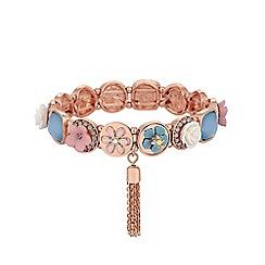 Mood - Rose Gold Plated Mix Style Floral Stretch Bracelet