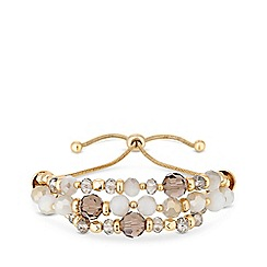 Mood - Gold plated white beach beaded toggle bracelet