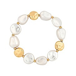 Mood - Gold Plated Baroque Pearl Stretch Bracelet