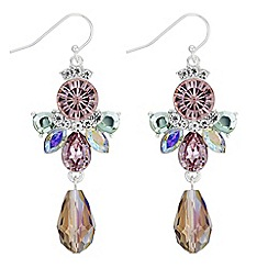 Butterfly by Matthew Williamson - Pink crystal and bead drop earrings