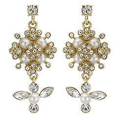 Butterfly by Matthew Williamson - Pearl and crystal cluster earrings