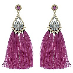 Butterfly by Matthew Williamson - Designer crystal pear drop tassel earrings