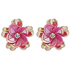 Butterfly by Matthew Williamson - Designer floral sequin stud earrings