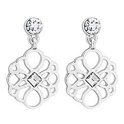 Butterfly by Matthew Williamson - Silver crystal filigree drop earrings