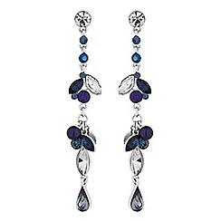 Butterfly by Matthew Williamson - Silver blue crystal charm drop earrings