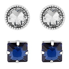 MW by Matthew Williamson - Silver crystal blue stud earring set