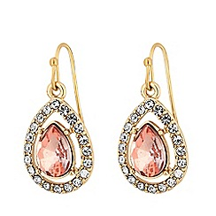 MW by Matthew Williamson - Gold plated clear glass pink peardrop drop earrings