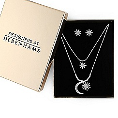 Butterfly by Matthew Williamson - Silver crystal moon and stars jewellery set