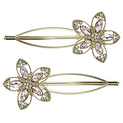 Butterfly by Matthew Williamson - Pink crystal flower hair slide set