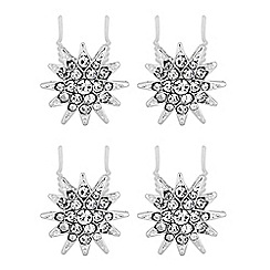 MW by Matthew Williamson - Silver crystal pave star pin set