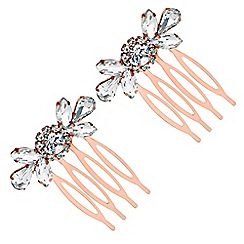 MW by Matthew Williamson - Rose gold crystal ornate hair comb set