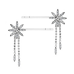 MW by Matthew Williamson - Silver plated silver 2 pack floral slide hair