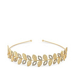 MW by Matthew Williamson - Gold plated gold pave leaf headband hair