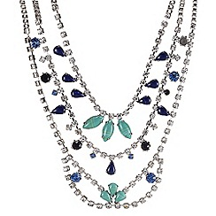 Butterfly by Matthew Williamson - Designer blue tonal stone triple chain necklace