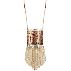 Butterfly by Matthew Williamson - Designer bead and chain tassel pendant necklace
