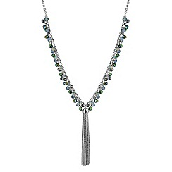 Butterfly by Matthew Williamson - Designer green beaded tassel necklace