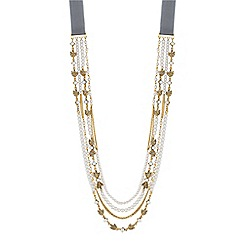 Butterfly by Matthew Williamson - Designer pearl and leaf multi row ribbon necklace