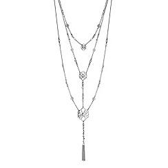 Butterfly by Matthew Williamson - Silver crystal filigree multi row tassel necklace