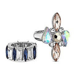 Butterfly by Matthew Williamson - Designer crystal droplet rings set