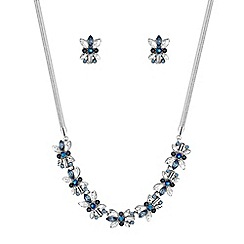 Butterfly by Matthew Williamson - Silver blue floral crystal jewellery set
