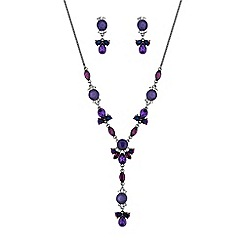 MW by Matthew Williamson - Silver purple crystal cluster jewellery set