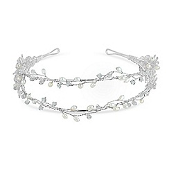 Butterfly by Matthew Williamson - Designer double row crystal leaf and pearl headband