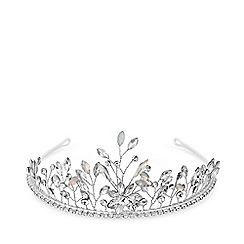 MW by Matthew Williamson - Silver plated clear glass opal and crystal point tiara