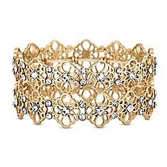 Butterfly by Matthew Williamson - Gold crystal filigree stretch bracelet