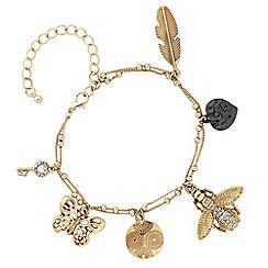 Butterfly by Matthew Williamson - Gold crystal locket charm bracelet