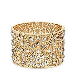 MW by Matthew Williamson - Gold plated clear statement filigree stretch bracelet