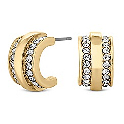 Principles - Gold crystal half hoop earrings