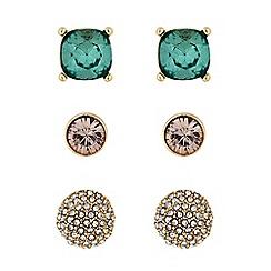 Principles - Gold green crystal stud earring set
