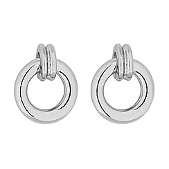 Principles - Silver mini hoop drop stud earrings