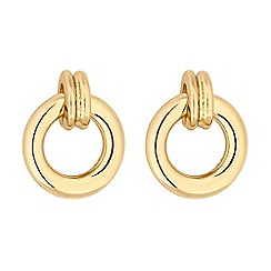 Principles - Gold mini hoop drop stud earrings