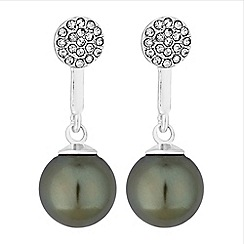 Principles - Silver green pearl drop earrings