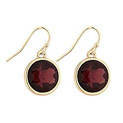 Principles - Gold red crystal drop earrings