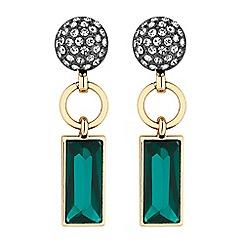 Principles - Gold green crystal link drop earrings